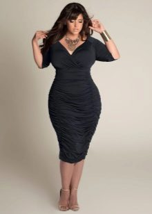 Faldilla midi drapada per a dones obeses
