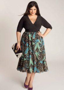 Faldilla midi floral per a dones obeses