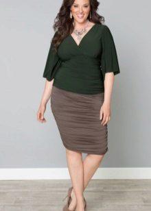 Faldilla de llapis marró clar per a dones obeses