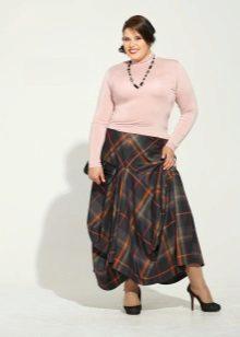 Faldilla a quadres elegant per a dones obeses