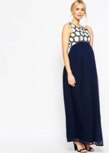 Blauwe elegante jurk voor zwangere vrouwen