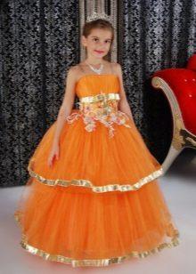 Vestido de ano novo para a menina laranja