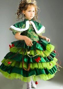 Vestido de Natal para uma menina de 6 anos Abeto