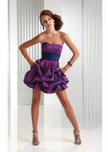 vestido de tafetá listrado