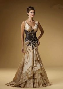 vestido de tafetá preto dourado sereia