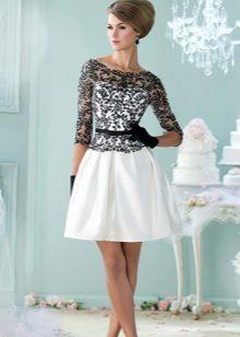vestido de tafetá preto e branco com laço