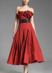 vestido de tafetá bustier