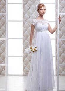 Vestido de casamento de tafetá de maternidade