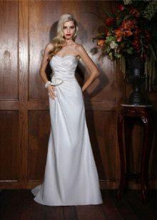 vestido de casamento de tafetá branco discreto