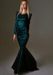 sereia do vestido de noite do tafetá