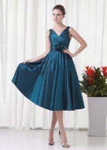 vestido de tafetá de noite flor