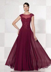 vestido elegante de tafetá roxo