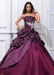 vestido fofo de tafetá roxo