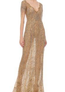 Вечерна рокля с ресни