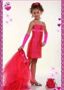 Vestido de formatura com saia removível para meninas de 5 anos