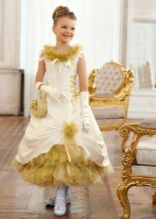 Vestido fofo dourado chique de ano novo para menina