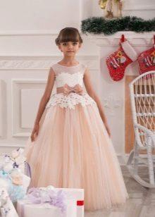 Elegante vestido de Natal fofo com renda para a menina