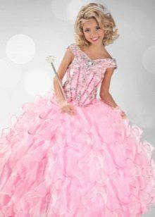 Vestido de baile elegante para meninas com strass