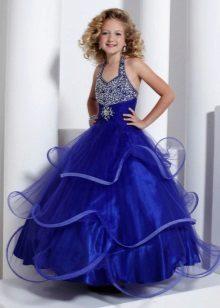 Vestido de baile elegante para meninas bordadas com strass