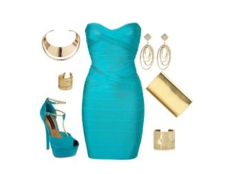 Acessórios vestido turquesa