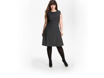 Black A-line dress for full
