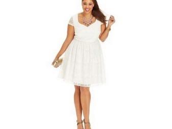 לבן A- קו תחרה השמלה עבור מלא