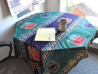 Sarong in the interior on the table as a tablecloth