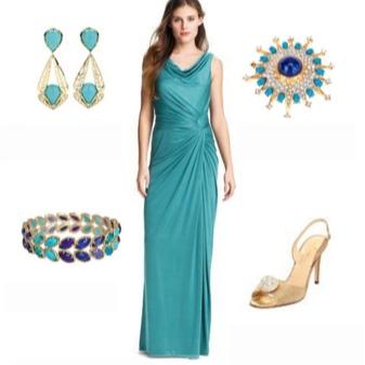 Acessórios de ouro para vestido turquesa