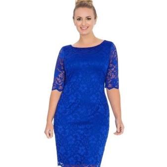 Helderblauwe kanten schede jurk voor vol