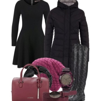 Dress with a fluffy skirt and accessories for the figure of the type Inverted Triangle