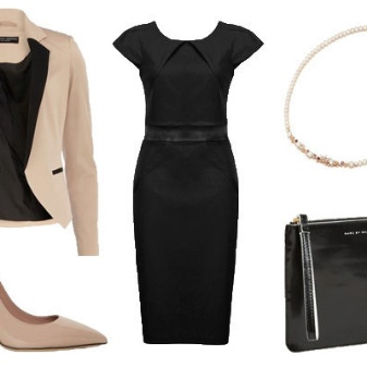 Acessórios bege para um vestido preto