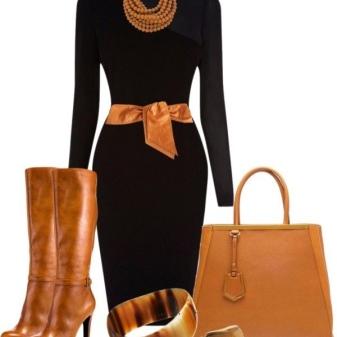 Acessórios marrons para vestido preto