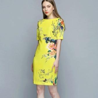 Módní žluté šaty s potiskem 2016