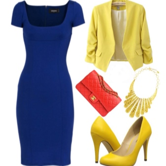 Yellow shoes to blue dress