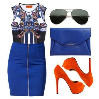 Orange shoes to blue dress