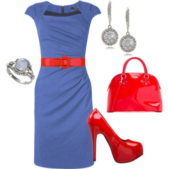 Red accessories for blue dress