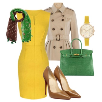Combining accessories to a yellow dress