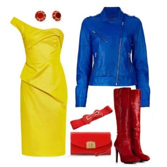Sarı elbiseye mavi ceket