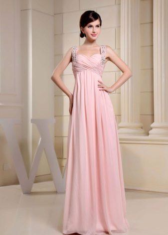 Vestido rosa império com tiras de espaguete