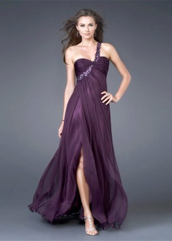 Purple evening dress with one-shoulder strap