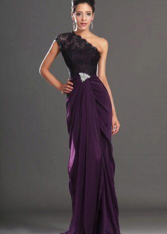 Purple evening dress on one shoulder