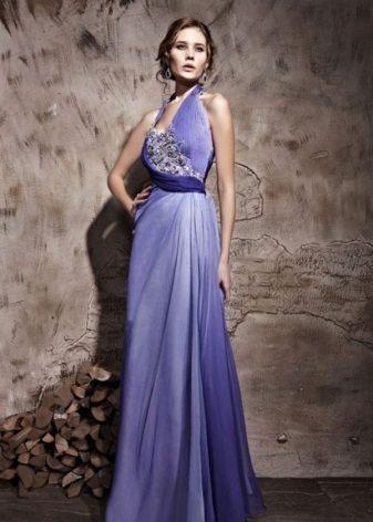 Fialové večerní šaty v řeckém stylu