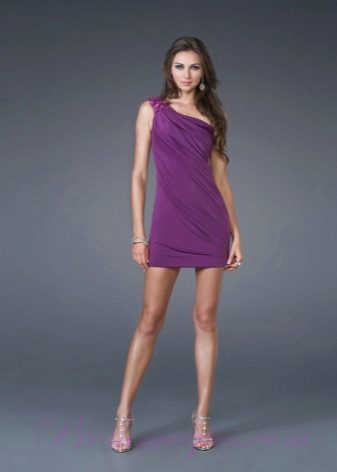 Lilac evening dress short in the Greek style