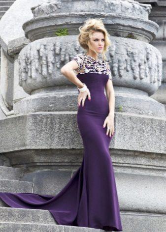 Mořské panny fialové večerní šaty