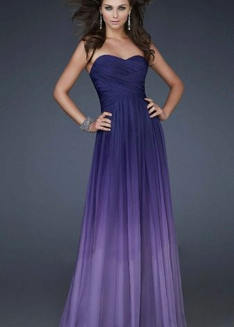 Gradient lilac color in evening dress