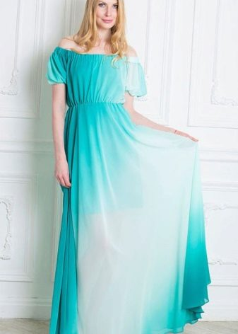Turquoise evening dress with white gradient