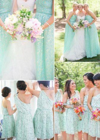 Mintapuvut samanvärisiä bridesmaidit