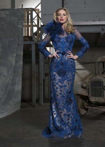 Vestido de renda noite azul