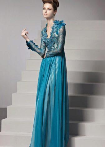 rendilhado de vestido de noite com decote