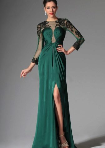 Evening green dress with black lace